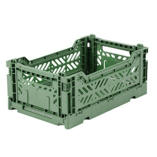 Ay-Kasa Folding Mini Crate in  almond green
