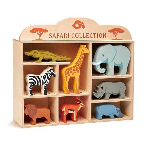 Tender Leaf Toys - 8 Safari Animals with Shelf