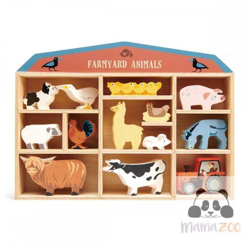 Tender Leaf Toys Farm állatok fa polccal