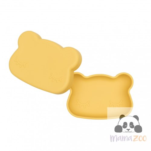 Uzsonás doboz puha szilikonból - sárga maci