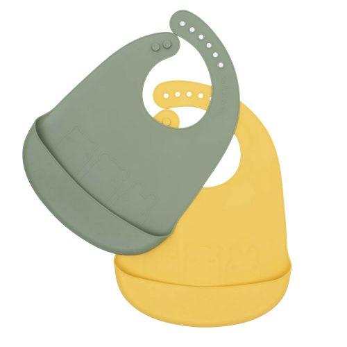 We might be tiny puha szilikon előke szett -zöld, sárga