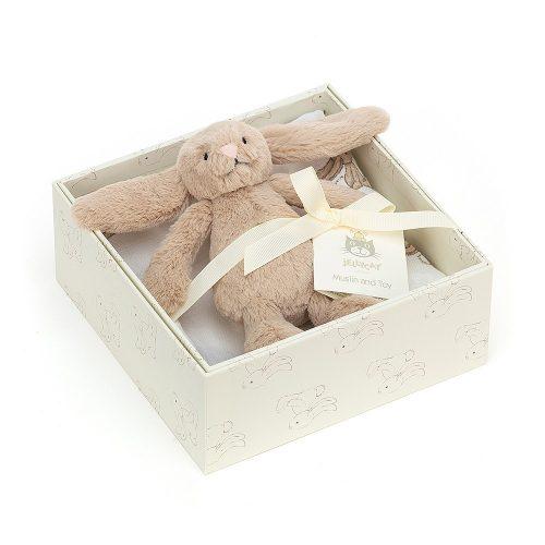 Jellycat Bashful bézs nyuszi baba ajándék doboz muszlinkendővel