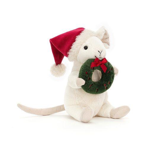 Merry mouse wreath - plüss kisegér karácsonyi koszorúval