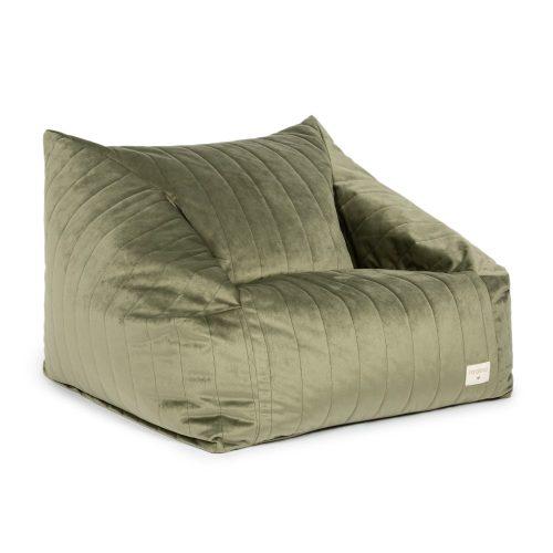 Chelsea bársony babzsák fotel - olive green -oliva zöld